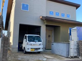 ビルトインガレージと土間リビングの家 足場解体