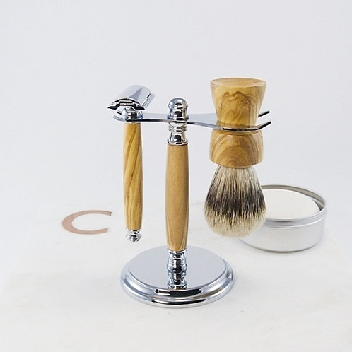 Chrome Shaving Set (4-piece) / Ensemble rasage en chrome (4 pièces)