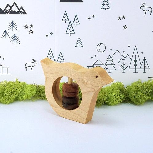 Bird Wooden Rattle Baby Toy / Hochet en bois pour bébé - Oiseau