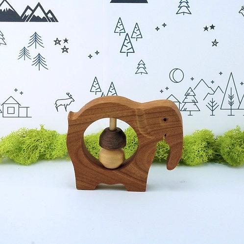 Elephant Wooden Rattle Baby Toy / Hochet en bois pour bébé - Éléphant