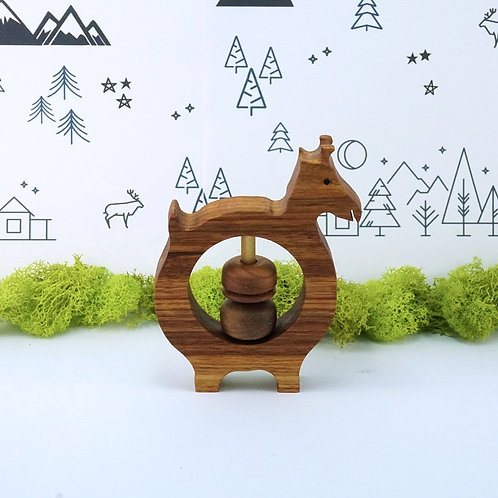 Wooden Rattle Baby Toy - Giraffe
