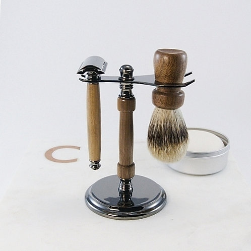 Gunmetal Shaving Set (3-piece) / Ensemble rasage en bronze à canon (3 pièces)
