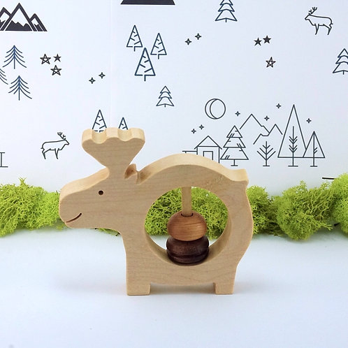 Wooden Rattle Baby Toy - Moose