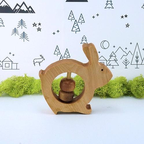 Bunny Wooden Rattle Baby Toy / Hochet en bois pour bébé - Lapin