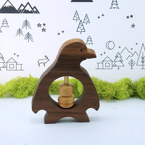 Penguin Wooden Rattle Baby Toy / Hochet en bois pour bébé - Pingouin
