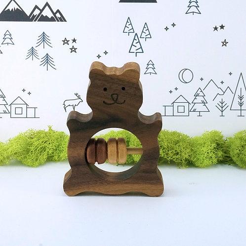 Bear Wooden Rattle Baby Toy / Hochet en bois pour bébé - Ours