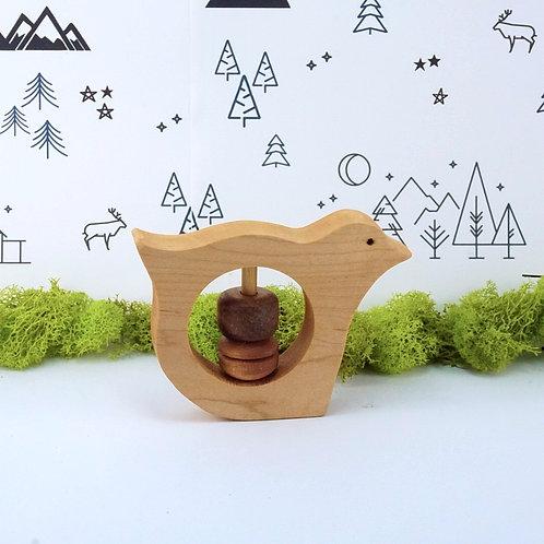 Wooden Rattle Baby Toy - Bird
