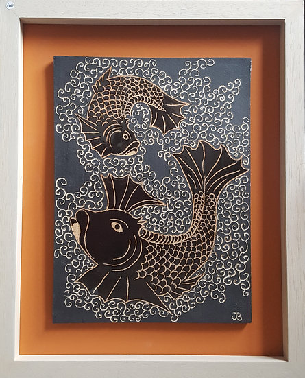 Black Tile with Orange Fish