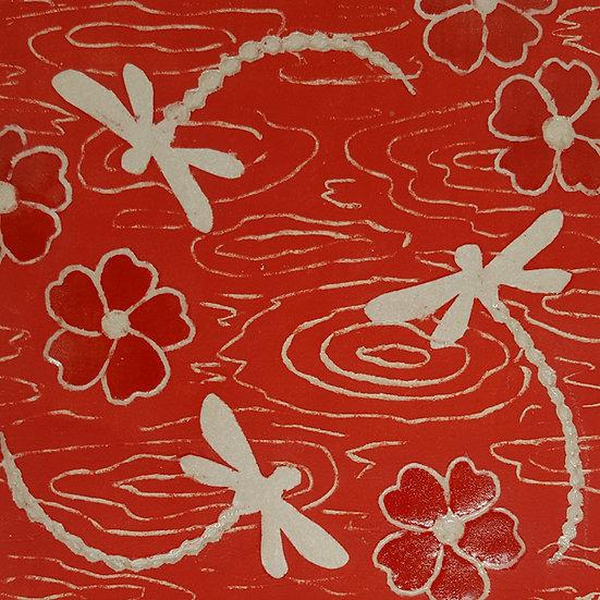 Framed Tile Red Dragonflies