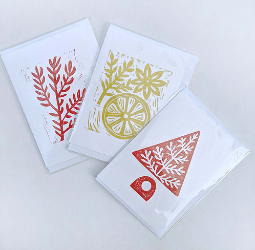Pack of Red and Gold Christmas Cards by Melissa Birch