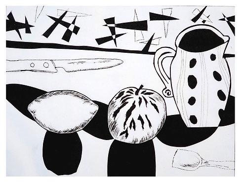 Spotted jug, apple and lemon (b/w) by Joan Wilkes