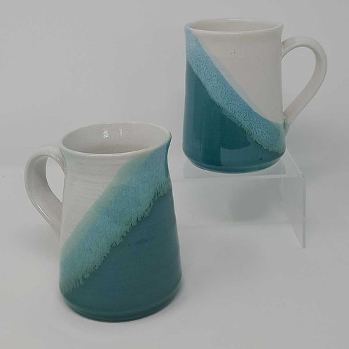 Pair of Turquoise, 'Hygge' Mugs by Jane Bridger