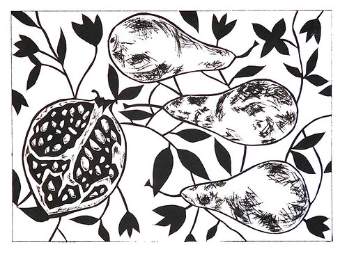Pomegranate and three pears by Joan Wilkes