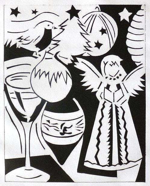 Christmas Arrangement B/W by Joan Wilkes