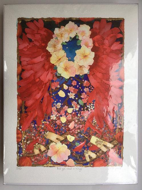 Christmas Angel, red wings, Edward Burne-Jones, Artist print, roses, art lover,