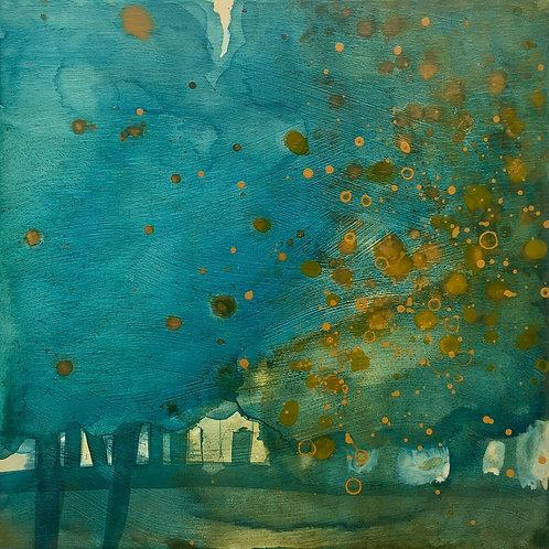 Autumn print, trees, turquoise art, autumn trees, art print, trees art,