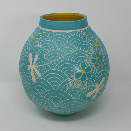 Turquoise Moon Jar with Dragonflies