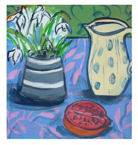 Spotted jug, snowdrops and pomegranate by Joan Wilkes
