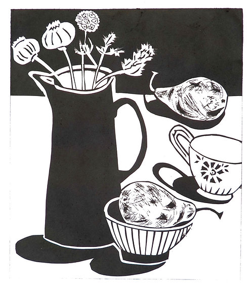 Arrangement with dried plants and pears (b/w) by Joan Wilkes