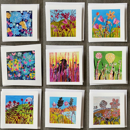Pack of 9 Greetings cards by Sue Collins