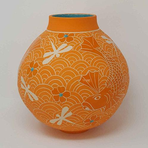 Large Orange Moon Jar with Fish and Dragonflies by Jane Bridger