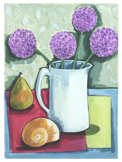 Purple alliums, shell & pear by Joan Wilkes