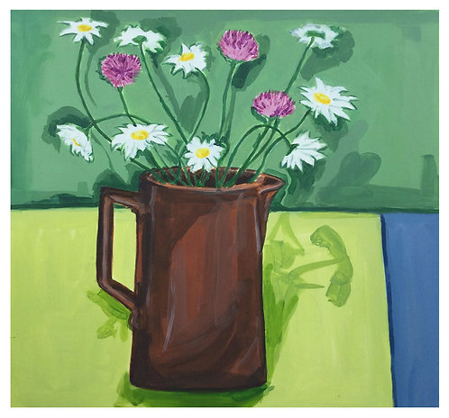 Daisy & chives in brown jug by Joan Wilkes