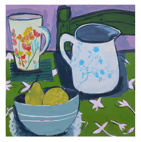 Still life with Floral  Jug and Cup by Joan Wilkes
