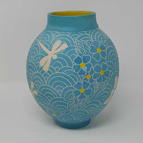 Turquoise Moon Jar with Dragonflies by Jane Bridger