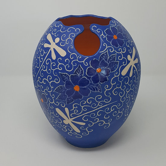 Blue Keyhole Pot with Dragonflies