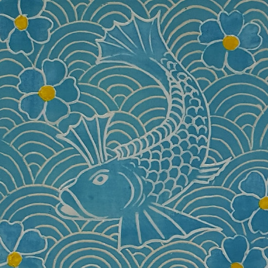 Turquoise Fighting Fish Tile