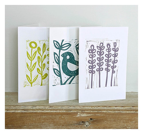 Set of Three Hand Printed Cards by Melissa Birch