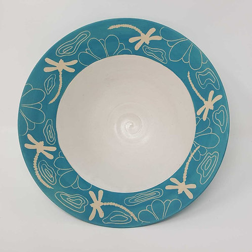 Turquoise Bowl with Dragonflies by Jane Bridger