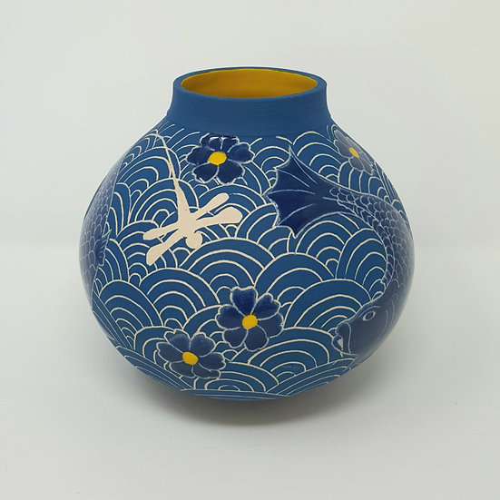 Teal Moon Jar with Dragonflies and Fish