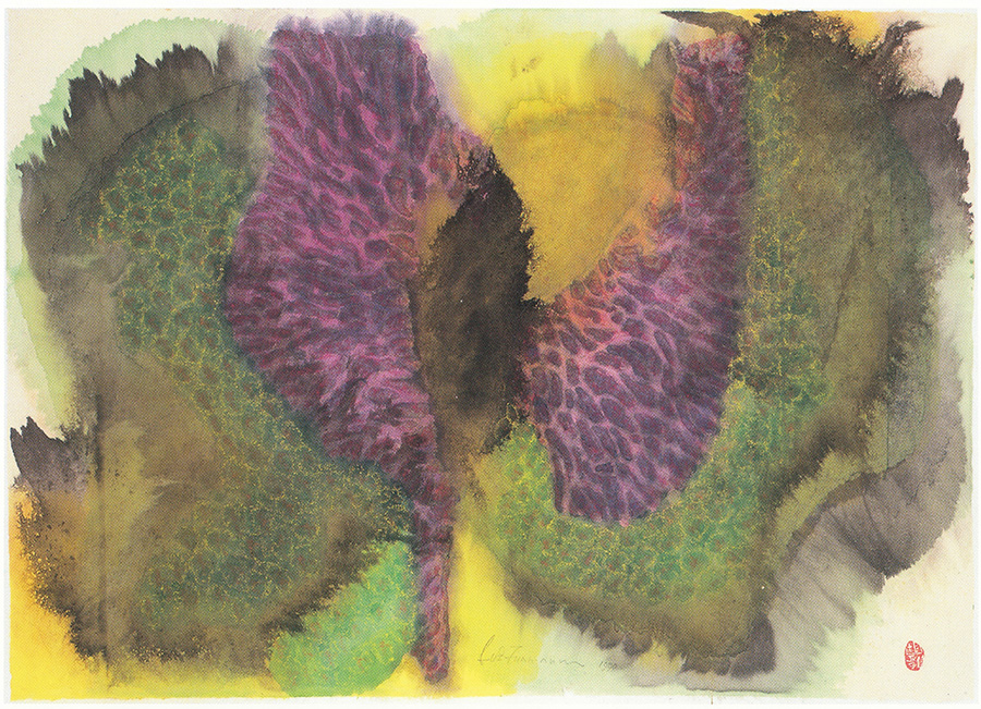 呂1990P.2 紫荷艷 Purple Lotus (1990) 紙本水墨及樹膠彩 Ink and gouache on paper 61h x 86w cm