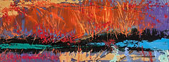 abstract painting of pond with oranges, yellows, reds, greens and blues