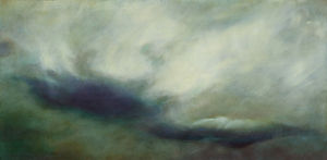 Veil of clouds, oil on copper, 12 x 24 inches