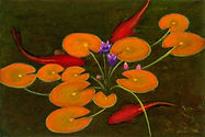 orange lily pads flowers fish koi oil on copper