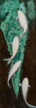 white koi verdigris oil on copper painting green water