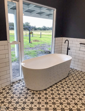 Farm views from the Freestanding Bath