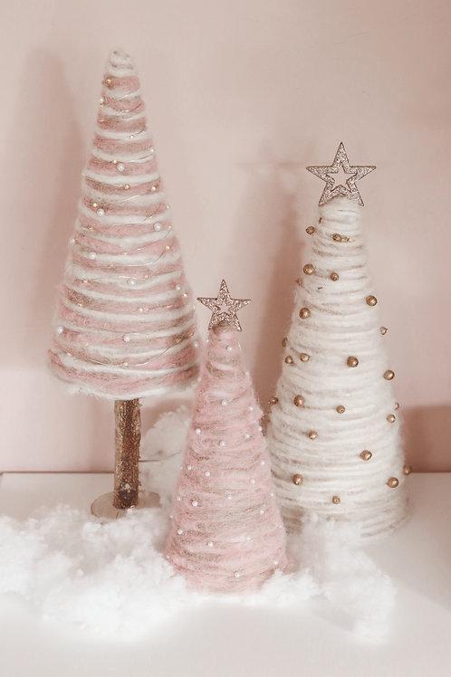 3 Dreamy Pink Handmade Trees