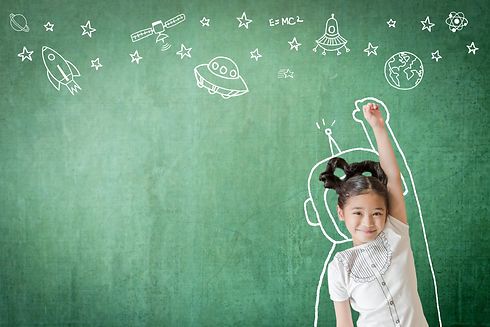 Kid's world learning inspiration in successful education with creative imagination for back to schoo
