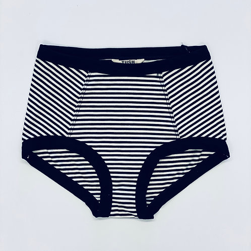 High Waisted Black and White Stripe