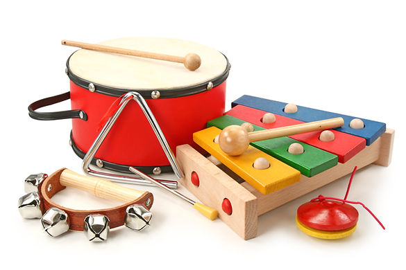 Musical instruments on white background.