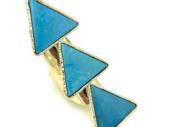 Triple Arizona Turquoise Pyramid Ring