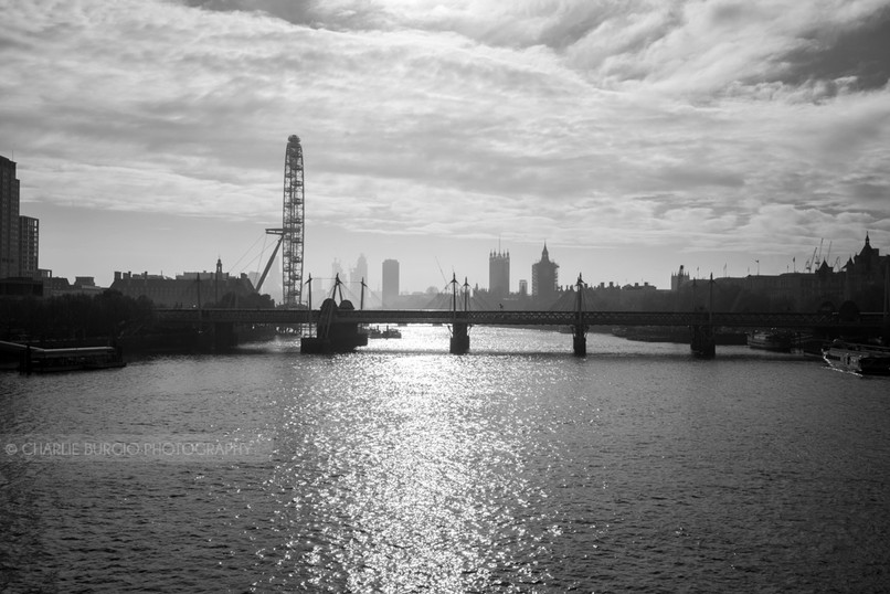 View of a foggy London from Waterloo Bridge on the first day of the second lockdown