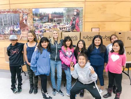 Ruben's shoes society visits first nations community Gwa'sala-'Nakwaxda'xw