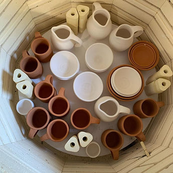 Pottery pieces in the kiln