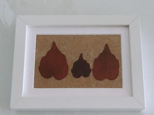 Cuadro hojas granates