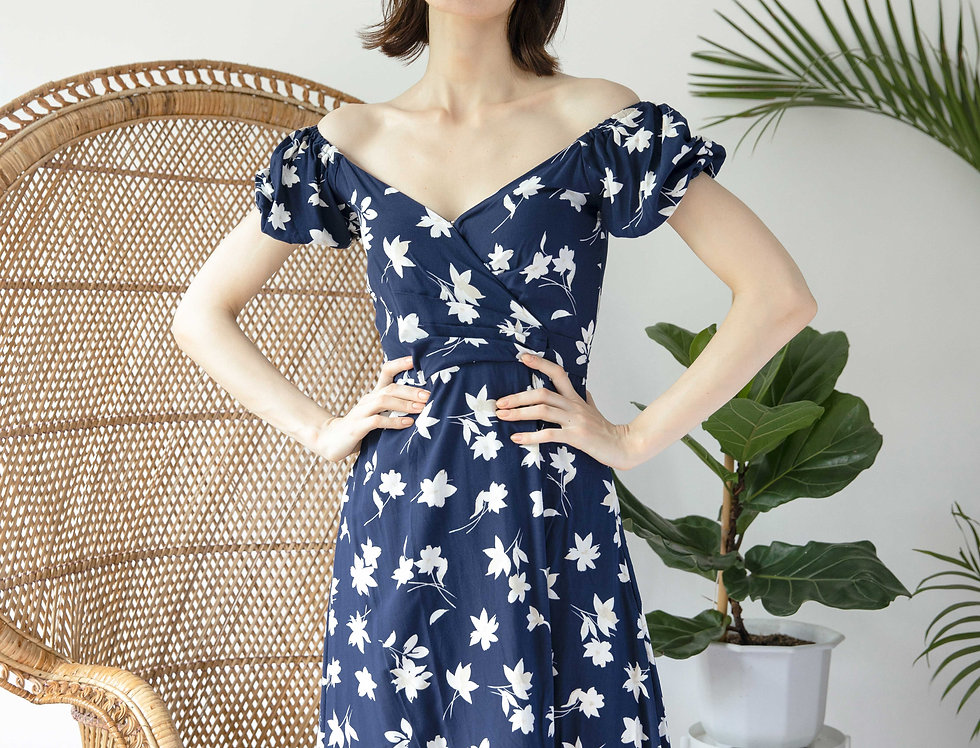 Charlie Dress- Blue Floral